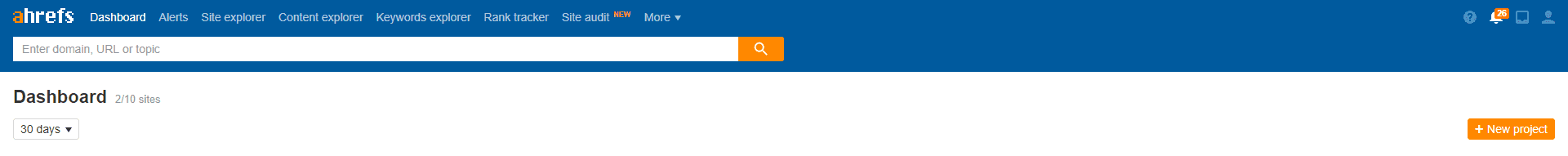 ahrefs dashboard image