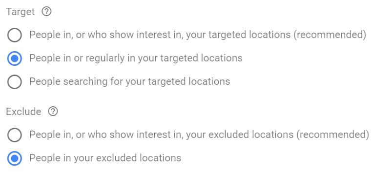 In-platform screenshot showing the proper targeting settings.